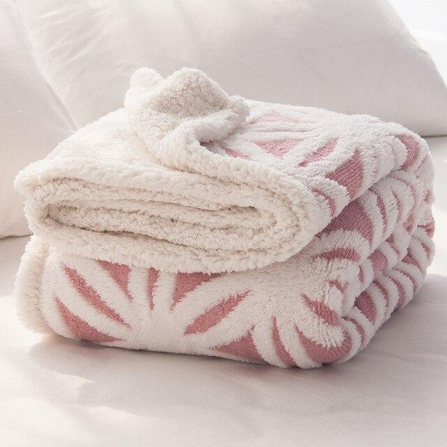 Chunky Knit Decke Doppelseite Weich Fleece Rosa Plaid Baumwolle