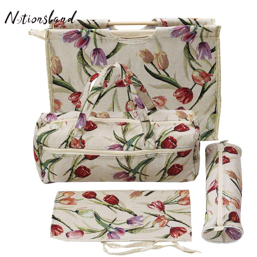 D D 4pcs Set Practical Knitting Needles Storage Bag Sewing Tools Organizer Household Knitting Bag