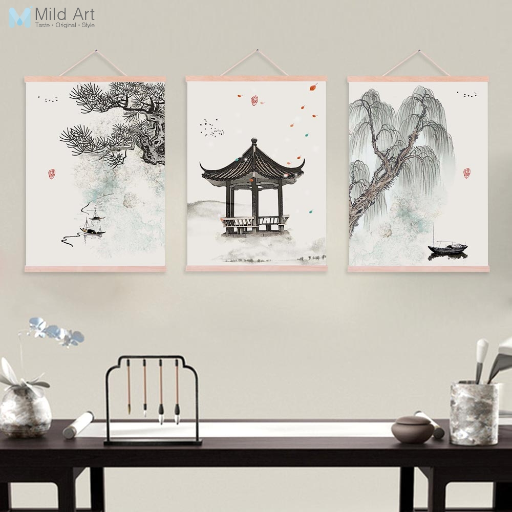 Watercolor chinese ink calligraphy landscape wooden framed posters oriental wall art pictures home decor canvas paintings scroll