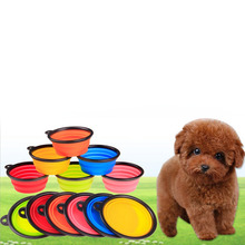 foldable silicone dog bowl Collapsiblecandy color outdoor travel portable puppy doogie food container feeder dish