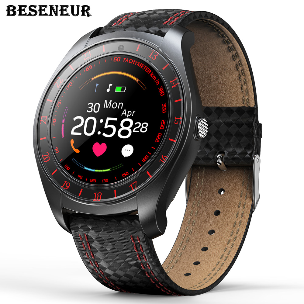 Beseneur Smart Watch Men with Camera Bluetooth Smartwatch Pedometer Heart Rate Monitor Sim Card Wristwatch for