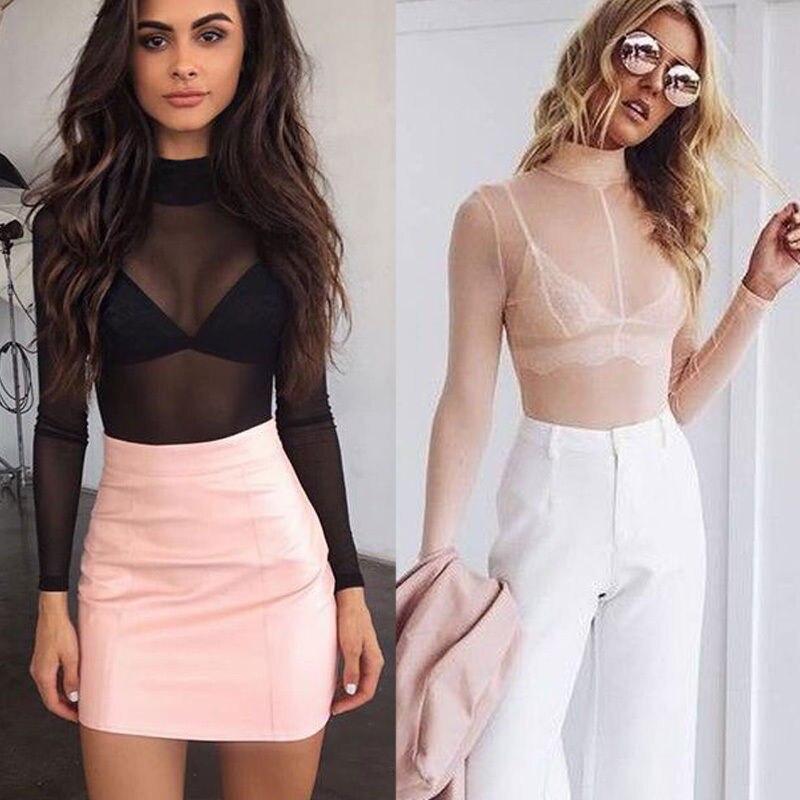 Women T-shirt See Through Transparent Mesh Stand Neck Long Sleeve Sheer Shirt Ladies Tops Tee Plus Size