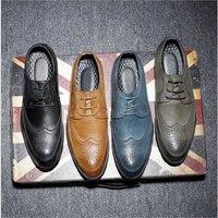 New Fashion Casual Italian Stylist Men Flat Formal Oxfords Wedding shoe Mens Dress Shoes Leather Brogue Shoes big size LE 34