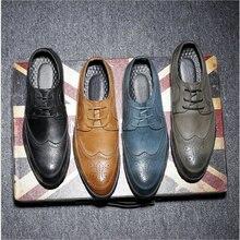 New Fashion Casual Italian Stylist Men Flat Formal Oxfords Wedding shoe Mens Dress Shoes Leather Brogue Shoes big size LE-34