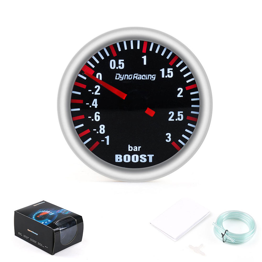 Dynoracing 2''52MM טורבו Boost מד 3 בר מכאני לבן Led Boost מד עשן דחיפה עדשת חיישן BX101537