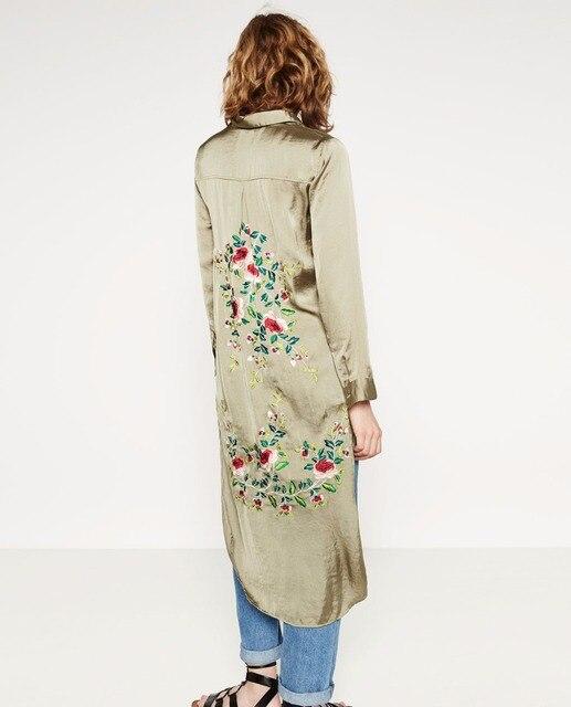 Женщины VogaIn 2016 Новый бренд Моды Удлиненные цветочные Вышитые Рубашки Кардиган С Длинными рукавами Боковыми Разрезами кнопки на Передней