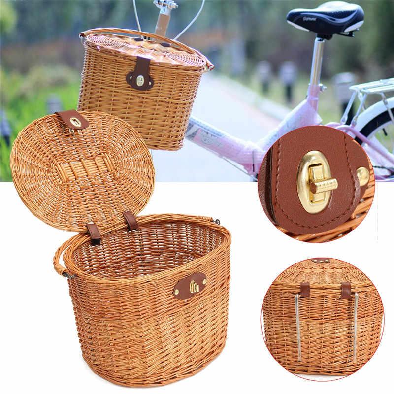 כידון אופני סלי נצרים ערבה תלויה-חיות מחמד אופניים סל קדמי עם מכסה תיבת דברים קניות פירות פיקניק Panier הערבה