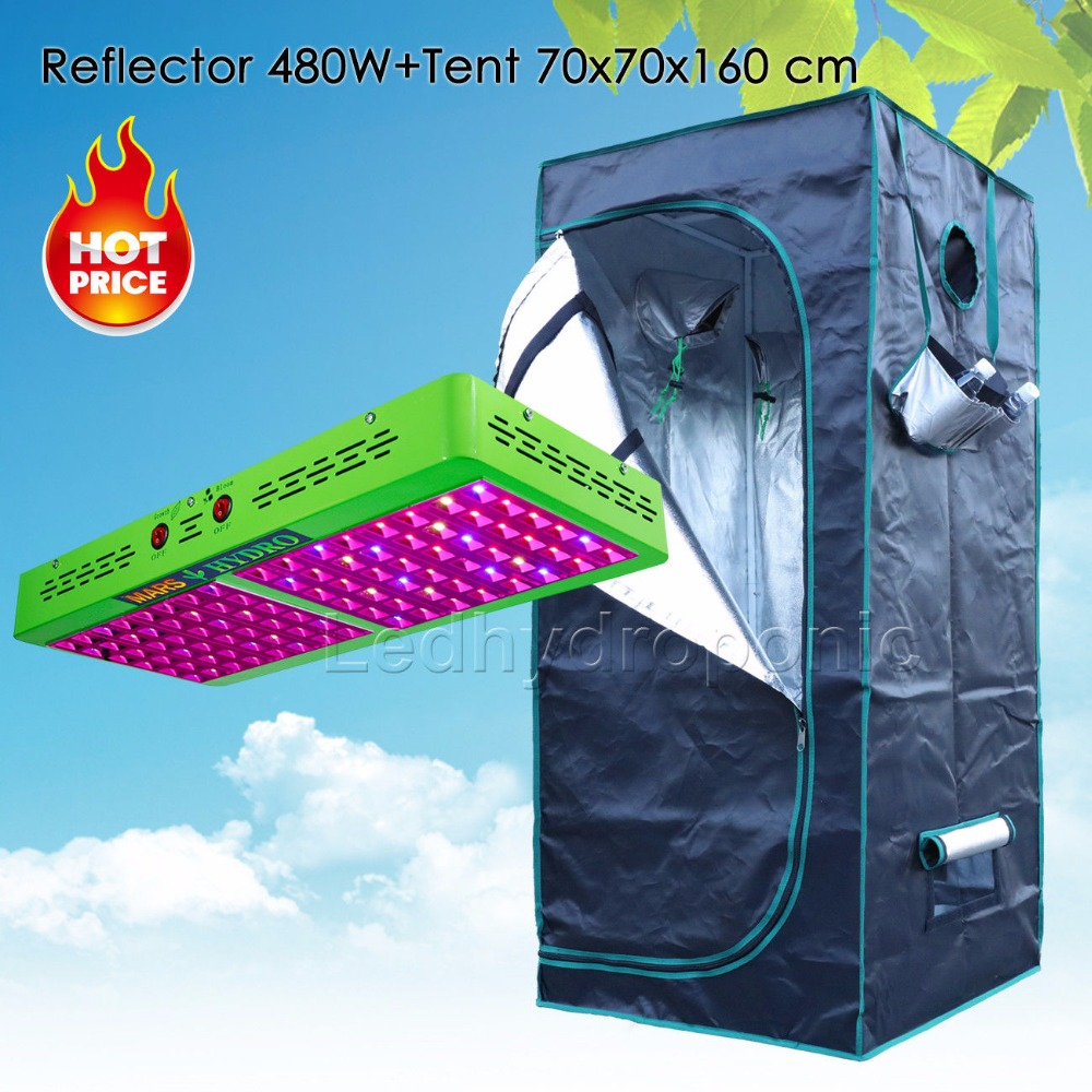 Reflector 480W LED Grow Lights Hydroponic Kit Plant+1680D 70*70*160 Indoor Grow Tent