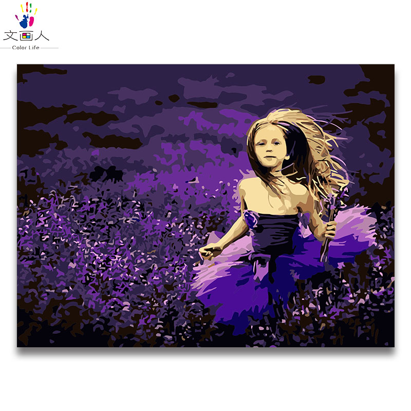Girl running in lavender flowers diy digital oil painting by numbers with paint colors on canvas paint handmade for hoom decor