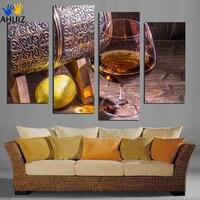 4 Pannello Tela Arte Foto Bicchiere di Vino di Frutta limone per la Cucina Living Room Decorazione Della Parete Stampe Su Tela Dipinti Murali Senza Cornice F18875