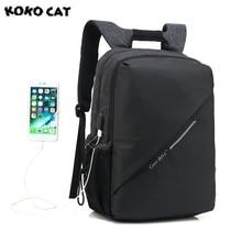 Купить с кэшбэком 2017 KOKOCAT New Fresh Men Waterproof High Capacity Laptop Bag Men 15 Inch Backpack  School Backpack for Women Power Interface