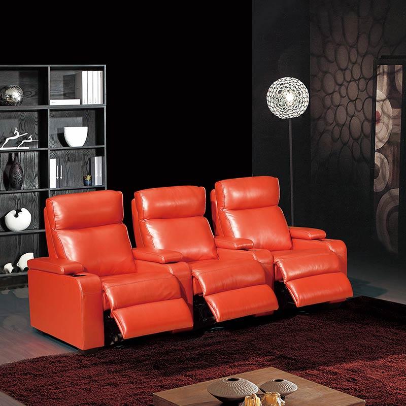 Family Cinema 3 Seats Bright Orange Leather Electric Sofa In