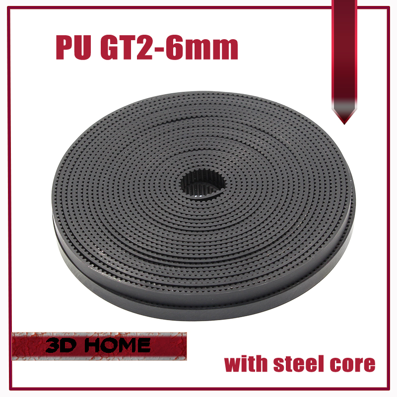 10M/lot PU with Steel Core GT2 Belt Black & White Color 2GT Timing Belt 6mm Width 10M a Pack for 3d printer Free Shipping free shipping white black 100