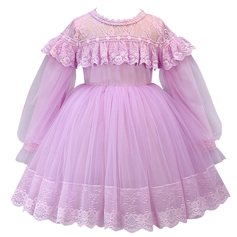 2019   Flower     Dresses   For Party vestido daminha Pearls Sash long Sleeves   Flower     Girl     Dress   Lace First Communion   Dress