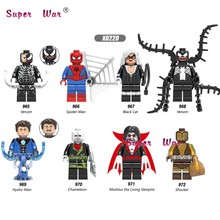 Single Venom Chameleon Morbius the Living Vampire black Cat Hydro-Man Shocker SpiderMan building blocks toys for children(China)