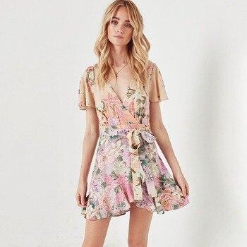 d344639e92c52b9 Сиреневое мини-платье с принтом лилии, женское летнее сексуальное платье с  оборками с коротким рукавом и v-образным вырезом, женское цыганск.