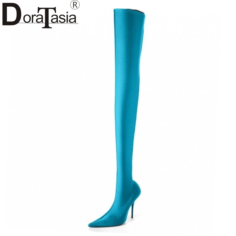 DoraTasia brand new large size 34-48 over the knee boots thin high heels woman sexy party shoes women boots pointed toe Satin brand new a155 6 48 288