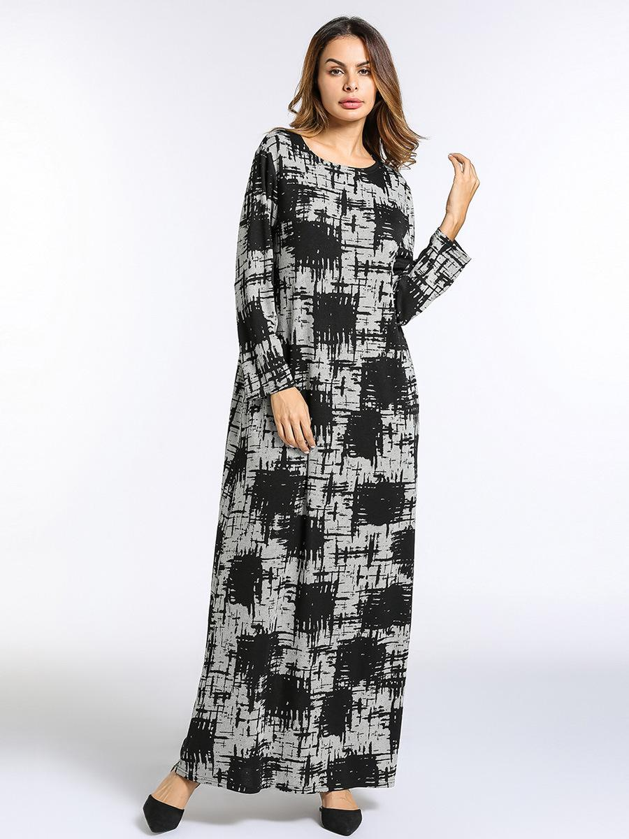Muslim Women Maxi Dress Knitted Cotton Thicken Winter Abaya Loose Robes Gowns
