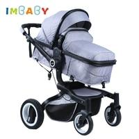 IMBABY теплая зимняя детская коляска 2 в 1 х дизайн Детские Багги детская коляска резиновые большие колеса со светодио дный Ом Go cart коляска для н