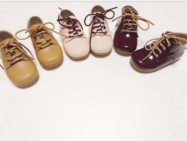 Bebé fondo de goma zapatos oxford de cuero genuino Nueva manera de encaje hasta mocasines bebé botas de bebé para niños niños niñas botas de nieve 3 colores