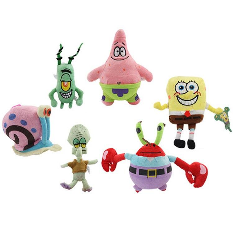 SpongeBob plush toys SpongeBob/Patrick Star/Squidward Tentacles/Eugene/Sheldon/Gary soft stuffed dolls lovely toys spongebob comics treasure chest
