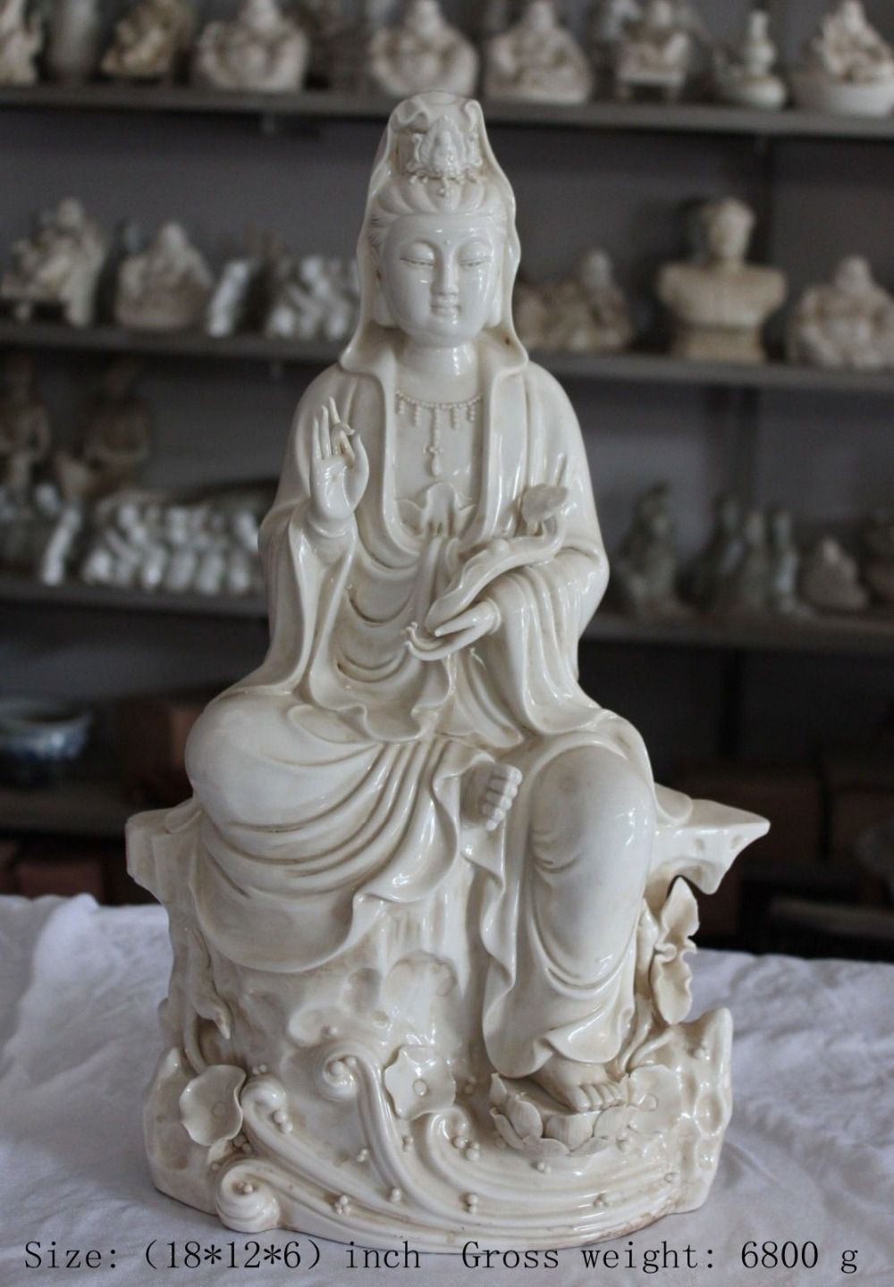 Height:::18 inches/Chinese dehua porcelain goddess guanyin bodhisattva lotus