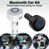 Bluetooth 4.0 Car Kit Charger Answer Phone Hands Free Stereo Audio Music Play with MIC USB Charge