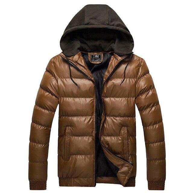 Mens Fashion Faux Leather Hooded Parka Jacket WINTER WARM Down Coat Outwear