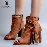 Prova Perfetto выдалбливают Для женщин Летняя обувь ботильоны с открытым носком туфли на толстом высоком каблуке женщина бахромой Для женщин Лодо