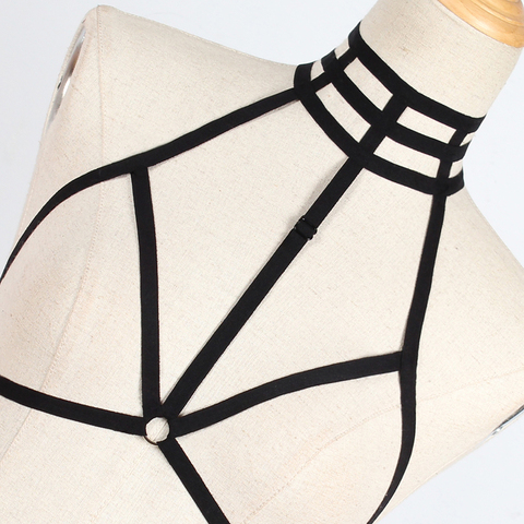 2019 Hot Sell New Women Sexy Goth Lingerie Elastic Harness Cage Bra Cupless Bondage Body Chain Belt Karachi