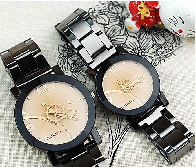 top gear wheel stainless band watch lady man big small size metallic black ladies women men. Black Bedroom Furniture Sets. Home Design Ideas