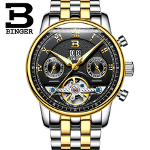 Switzerland BINGER men's watch luxury brand Tourbillon multiple functions water resistant Mechanical Wristwatches B-8603M-9