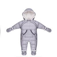 Duck Down Newborn Baby Winter Jumpsuit Russian Natural Fur Girl Romper Boy Clothes Infant Kids Snowsuit