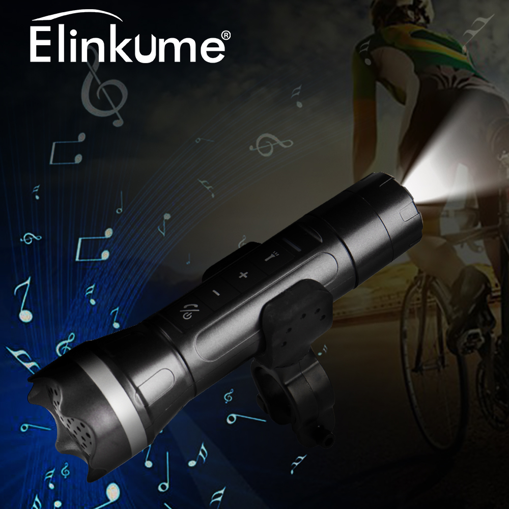 Elinkume New Outdoor Sport Multi-Functional USB Bluetooth Speaker Flashlight Hands-Free-Call Portable Light With Bicycle Holder