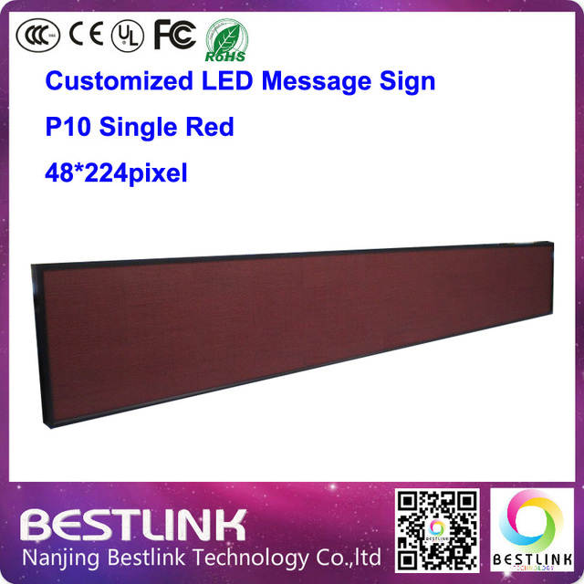 led display screen 48*224 pixel p10 single red led programmable running text sign diy kits led moving sign board message board
