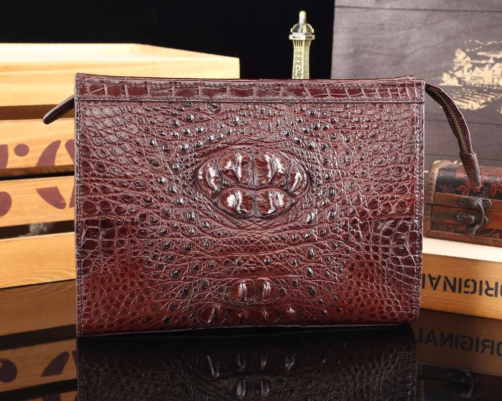 Luxury Genuine Crocodile Skin Leather Men Wallet phone bank card holder businese men clutch wallets big size black brown color luxury crocodile grain card holder folio