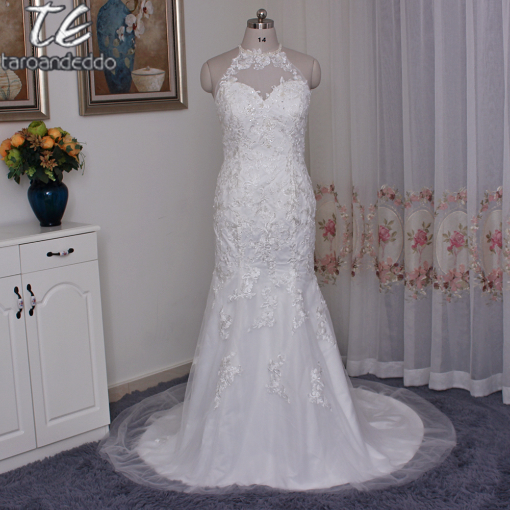 Wedding Dress Illusion Back: Jewel Illusion Halter Lace Plus Size Wedding Dress 9WG3735