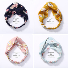 New Top Knot Turban Headband Floral Elastic Hairband Head Hoop Striped Hair Accessories for Women Girl Twisted Knotted Head Wrap plus knot side botanical wrap top