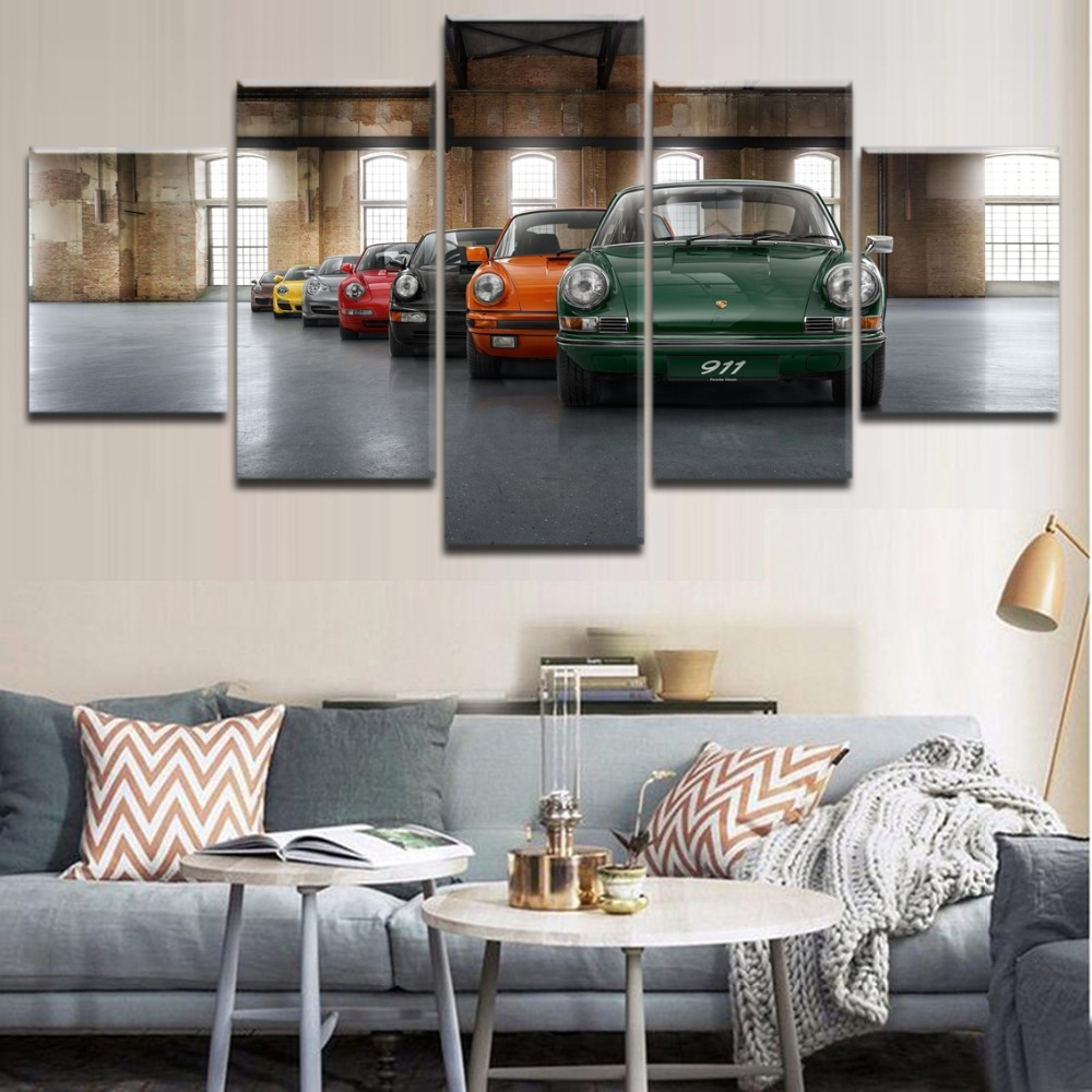 Canvas Art HD Printed Poster Wall Decor Living Room Picture Frame 5 Pieces Classic Old-Fashioned Car 911 Painting Modern Artwork  911 wall art   Porsche Wall Art Project (#12) Canvas font b Art b font HD Printed Poster font b Wall b font Decor Living