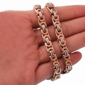 77b5155d8381 6 8 11mm nuevo llega 316L Acero inoxidable plata y oro rosa plana bizantina  cadena 7 -40