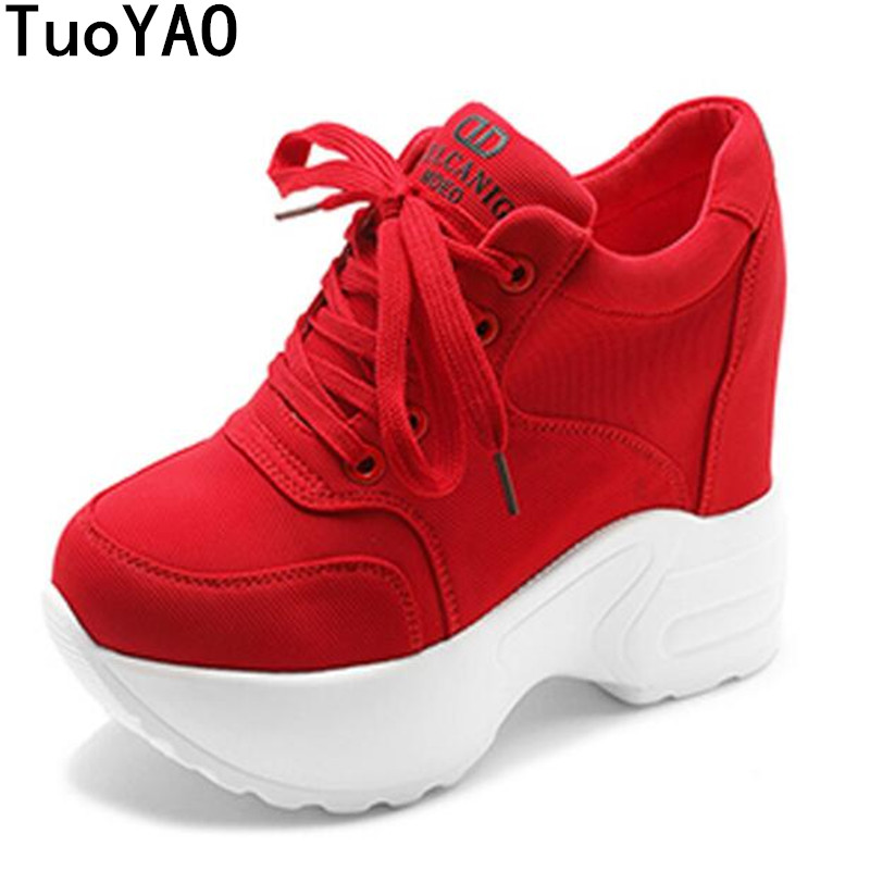Spring Wedges Breathable Woman Height Increased Shoes Autumn Women Sneakers Mesh Casual Platform Trainers White Shoes 10CM Heels