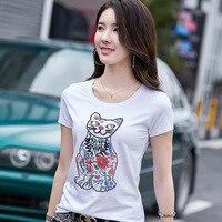 Summer Tops Women Cat Beading T Shirt Cotton Short Sleeve Harajuku Tshirt Ladies Sequin Tee Shirt Femme