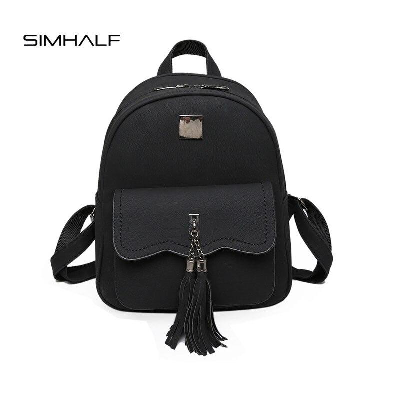 SIMHALF 2017 New Fashion Women backpacks Korean Vintage backpack Mochila High quality PU Tassel scrub school