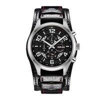Parnis Pilot V Serier Świetlny Wojskowy Sport Chronograph Mens Leather Watchband Kwarcowy Zegarek Na Rękę Ze Statycznym z Drugiej Ręki
