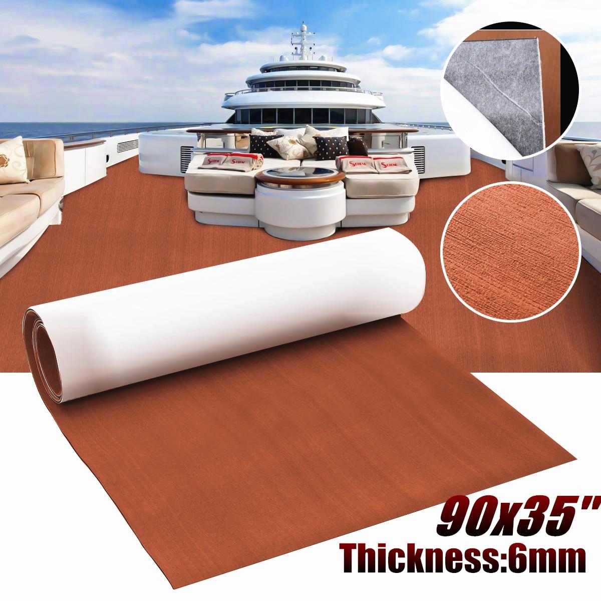 230x90x0.6cm Dark Brown EVA Foam Teak Deck Sheet Mat Pad Self Adhesive Boat Yacht RV Motorhome Synthetic Decking Foam Floor Mat
