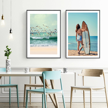 Nordic Poster Seascape Seagull Paintings Sexy Girl Wall Print Beach Canvas Painting Sea Wall Pictures for Living Room Unframed unframed sea wave and beach pattern canvas paintings