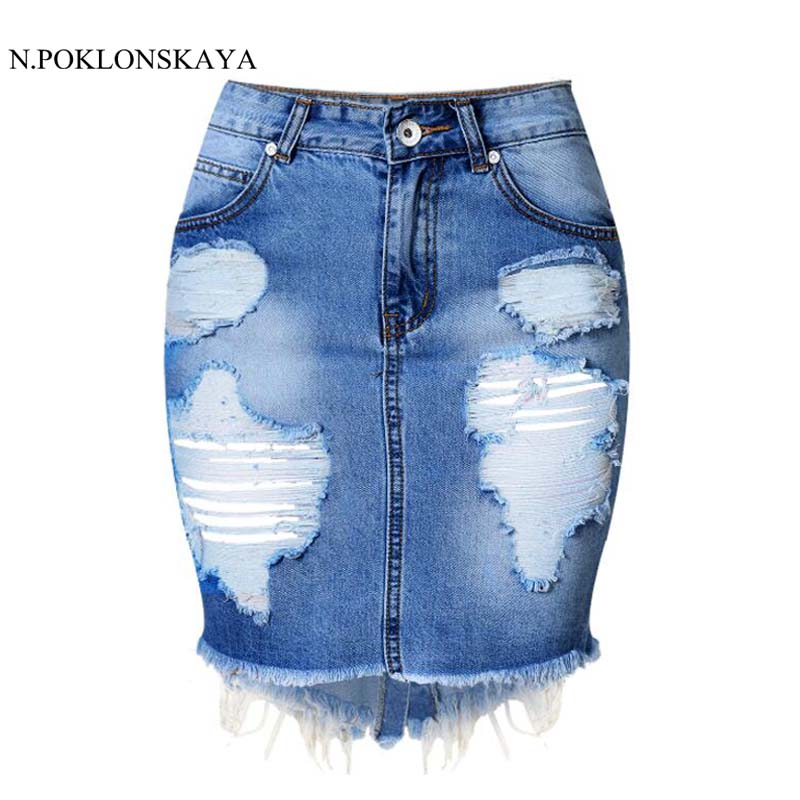 N.POKLONSKAYA 2017 Mini Denim Skirt Women Summer Casual Split High Waist Short Jeans Skirt Womens Pencil Skirts Jupe Faldas C029