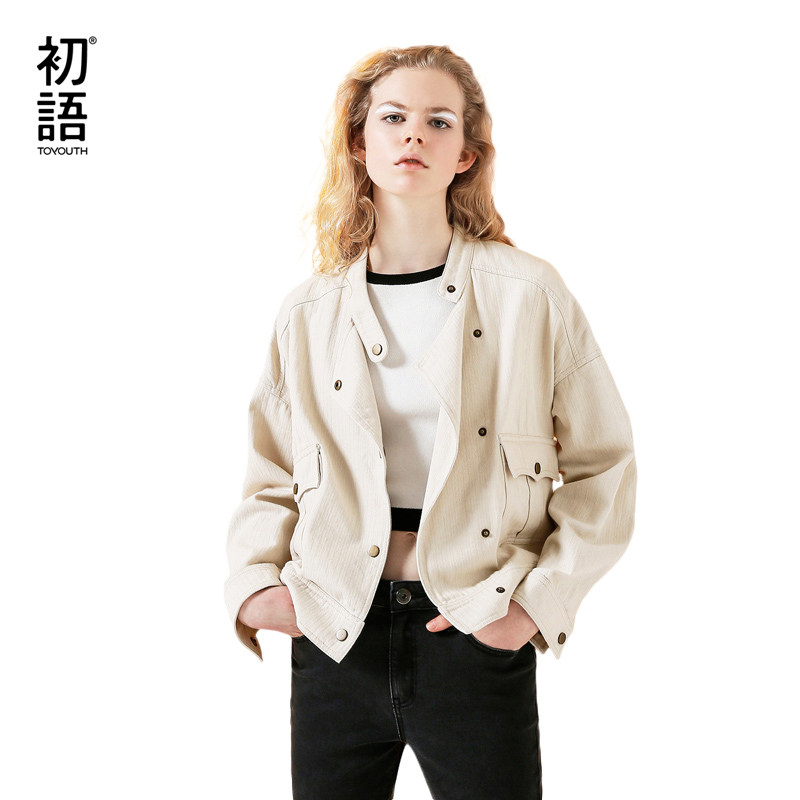 Toyouth Coat 2019 Autumn Women Fashion Casual Solid Color Stand Collar Outerwear Pocket Short Coats