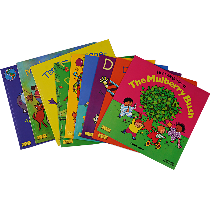 US $43 23 8% OFF|9 books/set classic English picture hole book child's play  children's folk rhymes song book kids baby early education book toy-in
