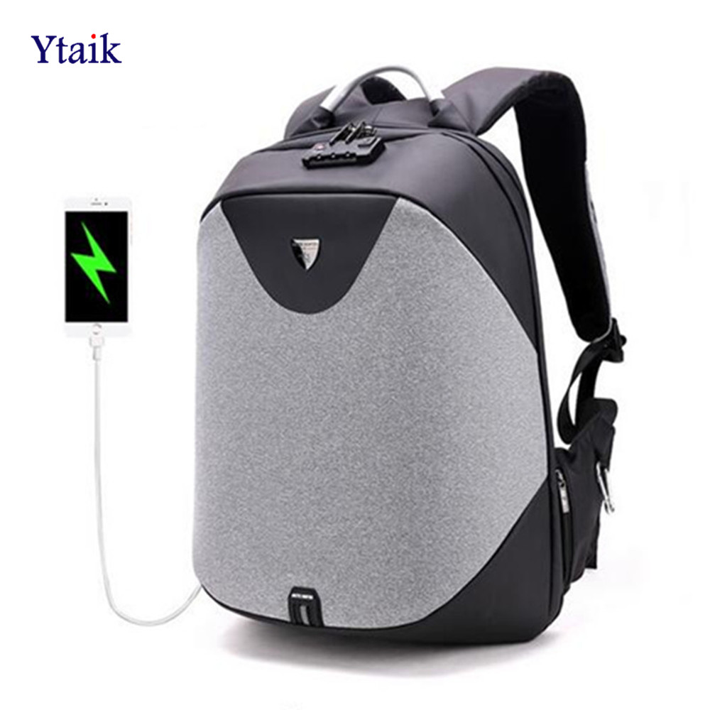 YTAIK Anti Theft 15.6 Laptop Backpack Men Waterproof Mochila Casual Business Travel Backpack Male USB Charge Teenager School Bag